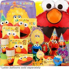 Elmo's 1st Birthday Ultimate Tableware Kit Serves 16 Guests