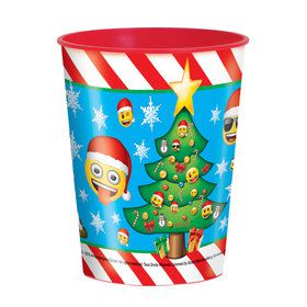Emoji Christmas 16oz Plastic Favor Cup (Each)