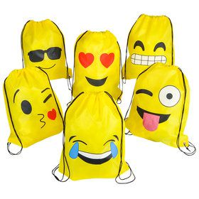 Emoji Drawstring Backpacks (12 Count)
