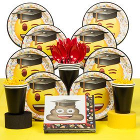 Emoji Graduation Deluxe Tableware Kit (Serves 8)