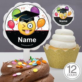 Emoji Graduation Personalized Cupcake Picks (12 Count)