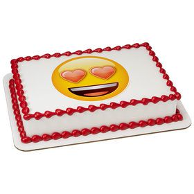 Emoji Heart Eyes Quarter Sheet Edible Cake Topper (Each)