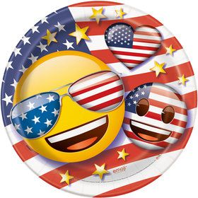 "Emoji Patriotic 9"" Luncheon Plates (8 Count)"