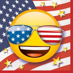 Emoji Patriotic Luncheon Napkins (16 Count)