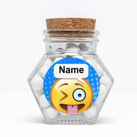 "Emoji Personalized 3"" Glass Hexagon Jars (Set of 12)"