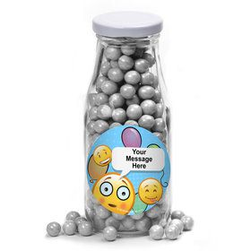 Emoji Personalized Glass Milk Bottles (10 Count)