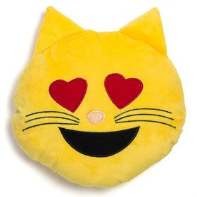 "Emoji Pillow 12"" Cat Heart Eyes"