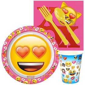 Emoji Pink Standard Luncheon Tableware Kit (Serves 8)