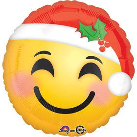 "Emoji Santa Hat 17"" Balloon (Each)"
