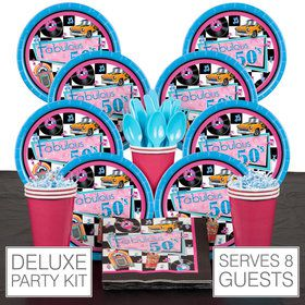 Fabulous 50's Party Deluxe Tableware Kit Serves 8
