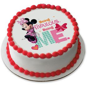 "Fabulous Minnie 7.5"" Round Edible Cake Topper (Each)"
