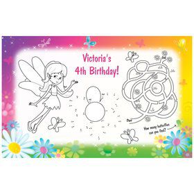 Fairy Birthday Party Personalized Activity Mat (8 pack)