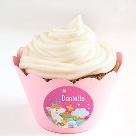 Fairytale Unicorn Personalized Cupcake Wrappers (Set of 24)