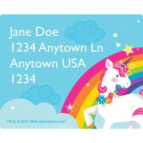 Fairytale Unicorn Personalized Rectangular Stickers (Sheet of 15)