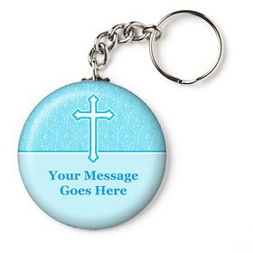 "Faith Blue Personalized 2.25"" Key Chain (Each)"