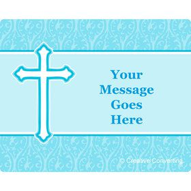 Faith Blue Personalized Rectangular Stickers (Sheet of 15)