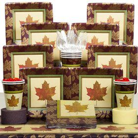 Fall Elegance Party Deluxe Tableware Kit Serves 8