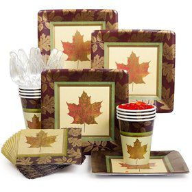 Fall Elegance Party Standard Tableware Kit Serves 8