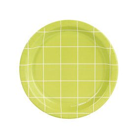 Fancy Floral Green Grid Dessert Plate (8)