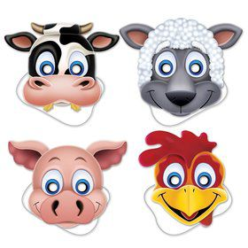 Farm Animal Paper Masks (4 Pack)