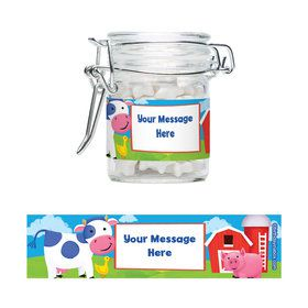 Farm Animals Personalized Glass Apothecary Jars (12 Count)