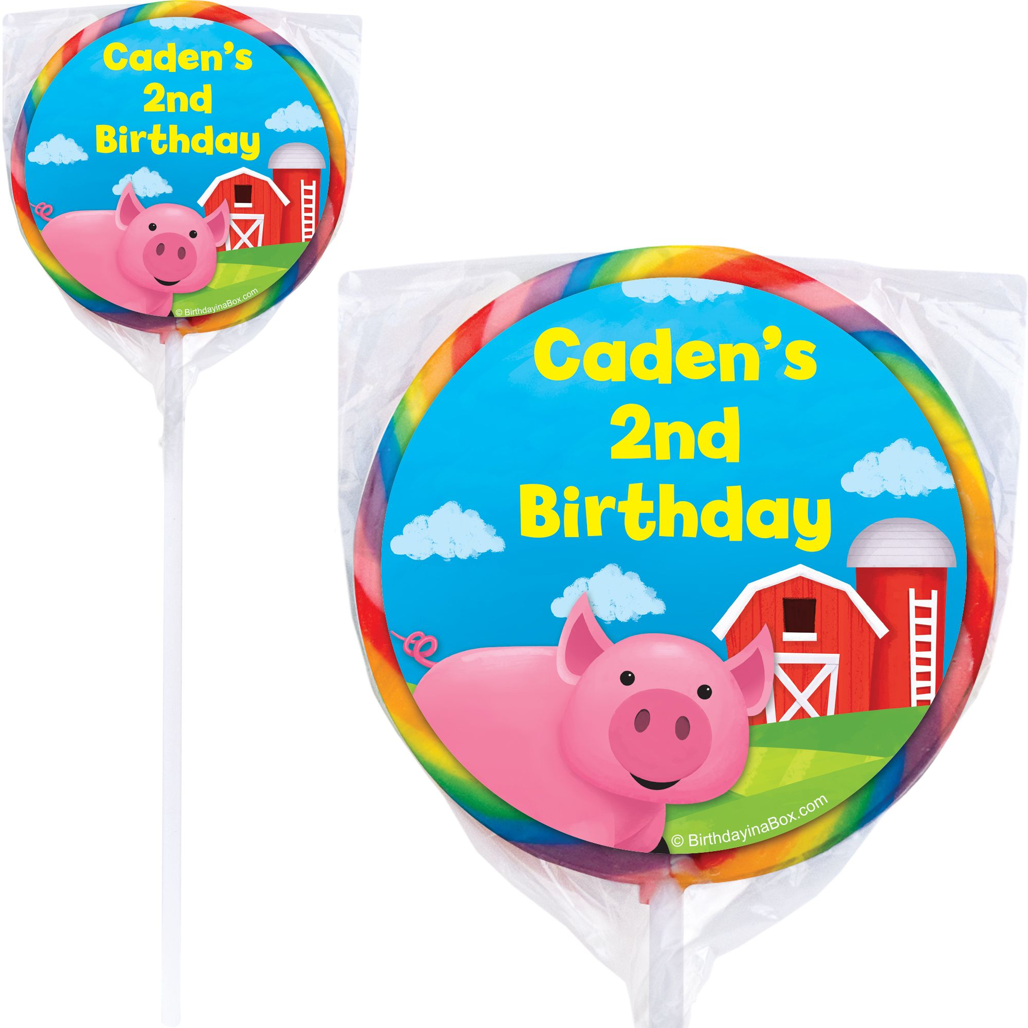 Farm Animals Personalized Lollipops (Pack Of 12) - Party Supplies BB1002PP