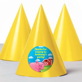 Farm Animals Personalized Party Hats (8 Count)