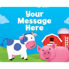 Farm Animals Personalized Rectangular Stickers (Sheet of 15)