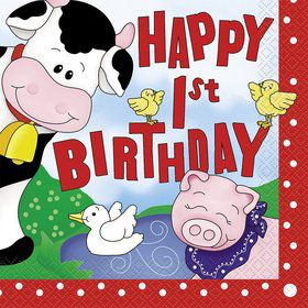 Farm Friends Barnyard 1st Birthday Luncheon Napkins (16 Pack)