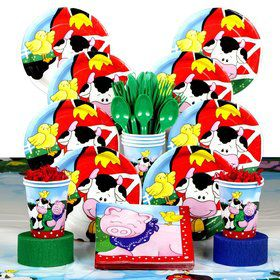 Farm Friends Barnyard Birthday Party Deluxe Tableware Kit Serves 8