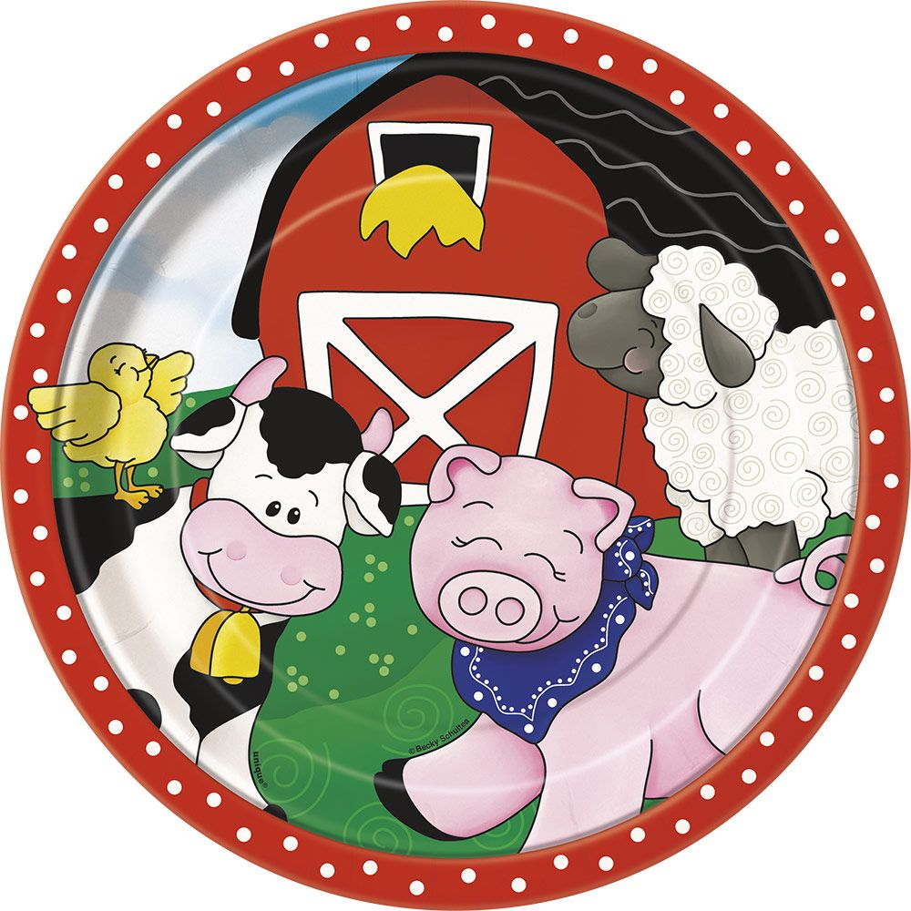 Farm Friends Barnyard Luncheon Plates (8 Pack) - Party Supplies BB41935