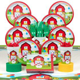 Farmhouse Birthday Party Deluxe Tableware Kit Serves 8