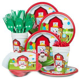 Farmhouse Birthday Party Standard Tableware Kit Serves 8