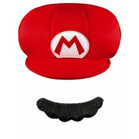 Features hat and self adhesive faux mustache.