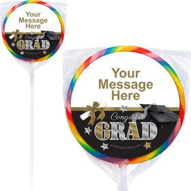 Festive Graduation Personalized Lollipops (12 Pack)