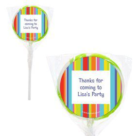"Festive Stripes Personalized 2"" Lollipops (20 Pack)"