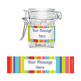 Festive Stripes Personalized Glass Apothecary Jars (10 Count)