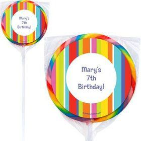 Festive Stripes Personalized Lollipops (pack of 12)