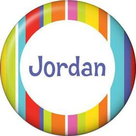 Festive Stripes Personalized Mini Button (each)