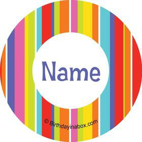 Festive Stripes Personalized Mini Stickers (Sheet of 24)