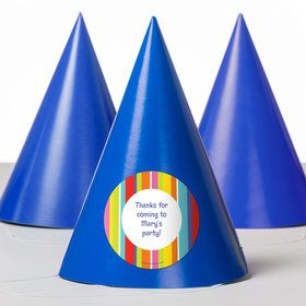 Festive Stripes Personalized Party Hats (8 Count)