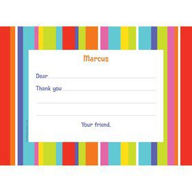 Festive Stripes Personalized Thank You Note (each)