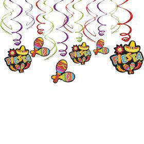 Fiesta Foil Swirl Hanging Decorations (6 Piece)