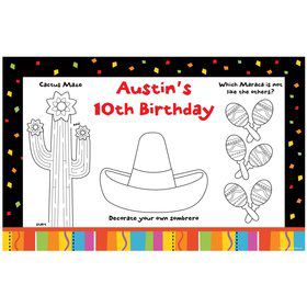 Fiesta Party Personalized Activity Mats (8-Pack)