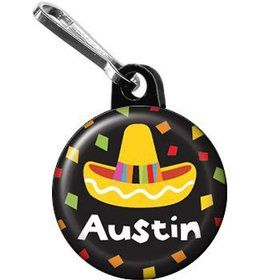Fiesta Party Personalized Mini Zipper Pull (each)