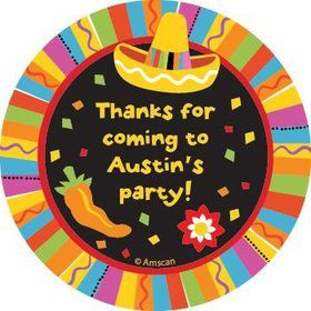 Fiesta Party Personalized Stickers (sheet of 12)
