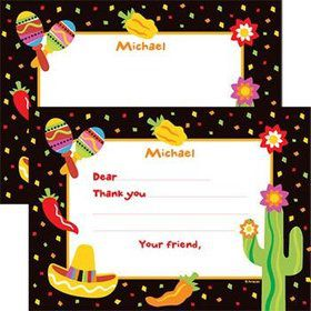 Fiesta Party Personalized Thank You Note (each)