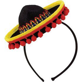 Fiesta Sombrero Headband Fabric w/ Ball Fringe (Each)