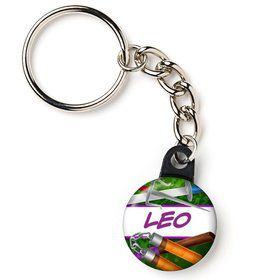 "Fighting Turtles Personalized 1"" Mini Key Chain (Each)"