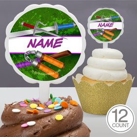 Fighting Turtles Personalized Cupcake Picks (12 Count)